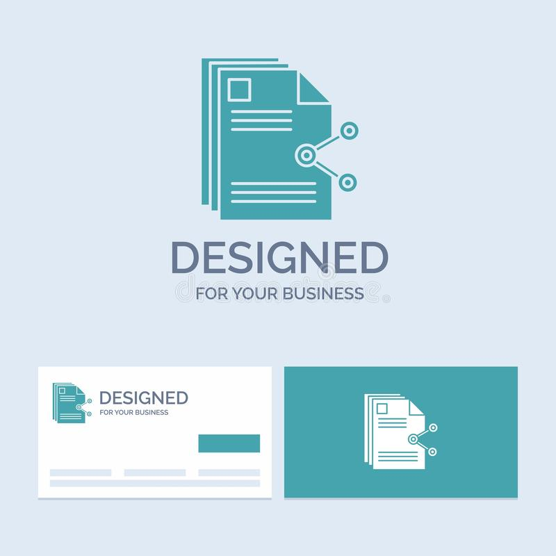 innehåll mappar som delar, aktie, dokumentaffär Logo Glyph Icon Symbol för din affär Turkosaff?rskort med m?rke royaltyfri illustrationer
