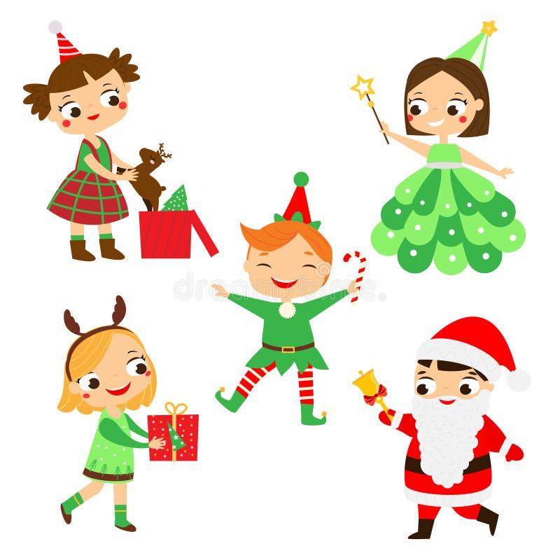 Innehåller genomskinliga objekt Barn för lyckligt nytt år i partidräkter av jultomten, älvan, hjortar och annan vektor illustrationer
