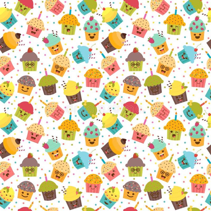 Innehåller genomskinliga objekt Kawaii muffin seamless modell vektor illustrationer
