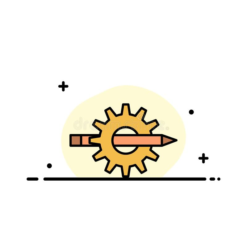 Innehållet handstil, designen, utveckling, kugghjulet, plan linje för produktionaffär fyllde mallen för symbolsvektorbanret vektor illustrationer