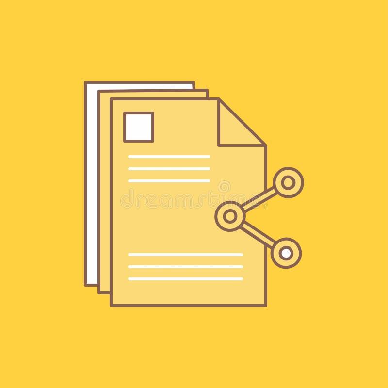 innehållet mappar som delar, aktien, plan linje för dokument, fyllde symbolen H?rlig logoknapp ?ver gul bakgrund f?r UI och UX, stock illustrationer