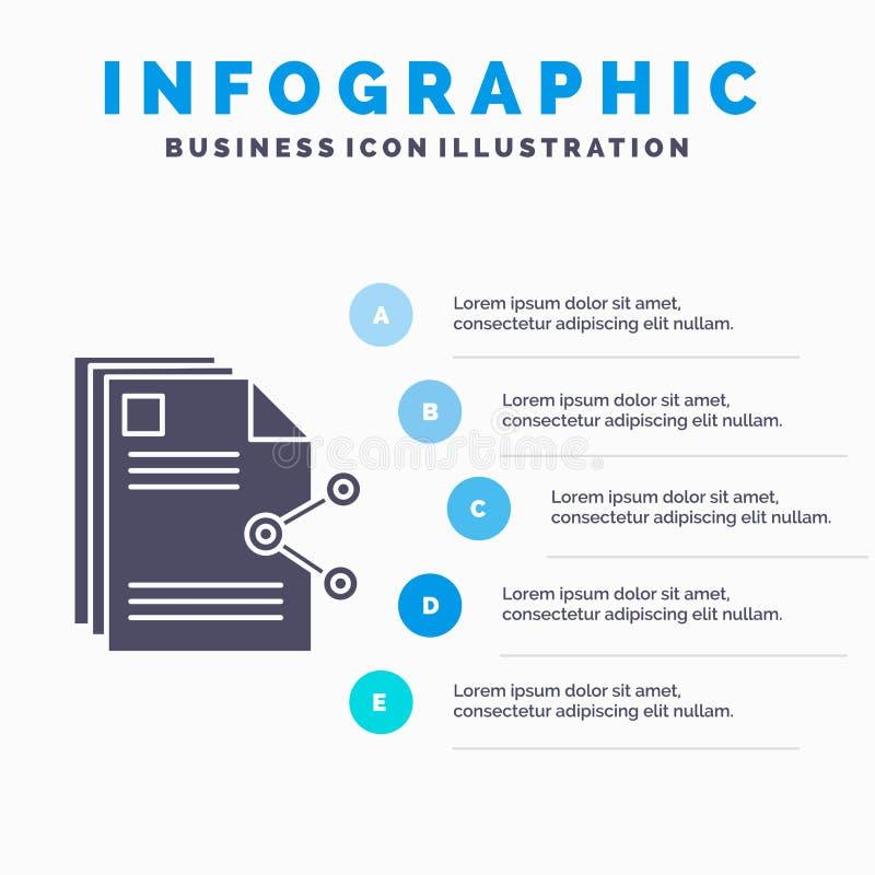inneh?ll, mappar, dela, aktie, dokumentInfographics mall f?r Website och presentation Gr? symbol f?r sk?ra med bl?tt infographic vektor illustrationer