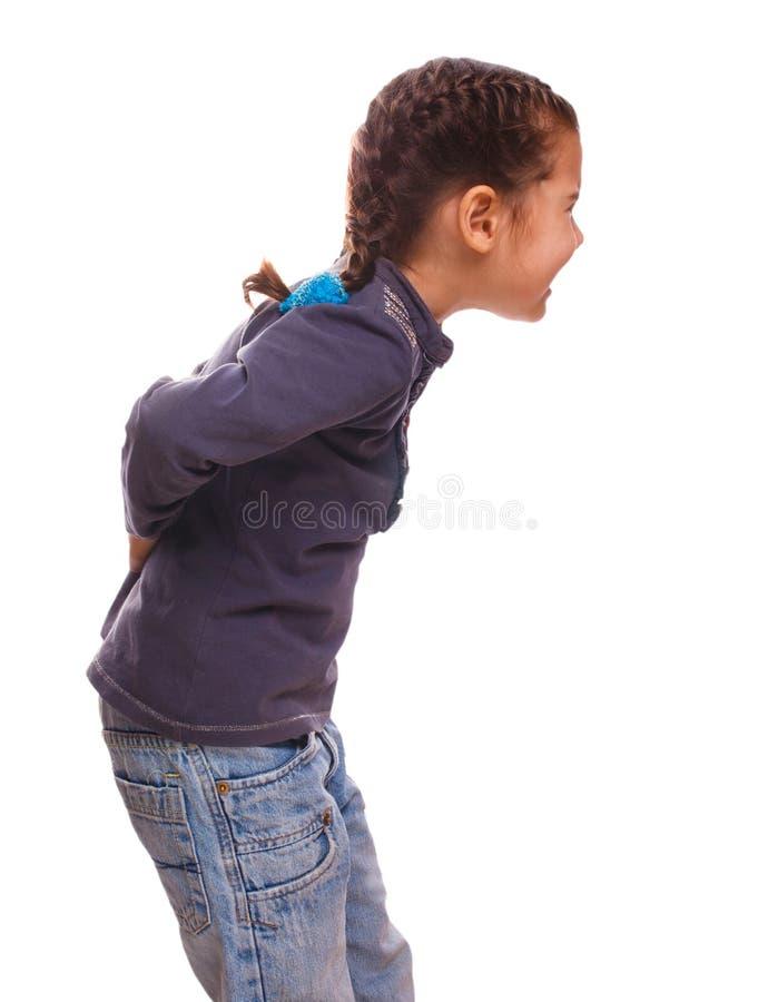 Innehav för flicka för tonåring för Osteochondrosis kvinnabarn arkivfoton