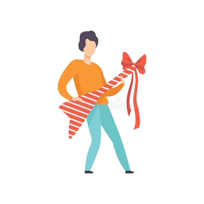 Innehavet för den unga mannen slogg in den elektriska gitarren med den röda bandpilbågen, folket som firar på illustrationen för  royaltyfri illustrationer