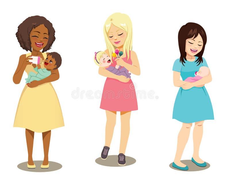 Innehavet för tre mödrar behandla som ett barn royaltyfri illustrationer