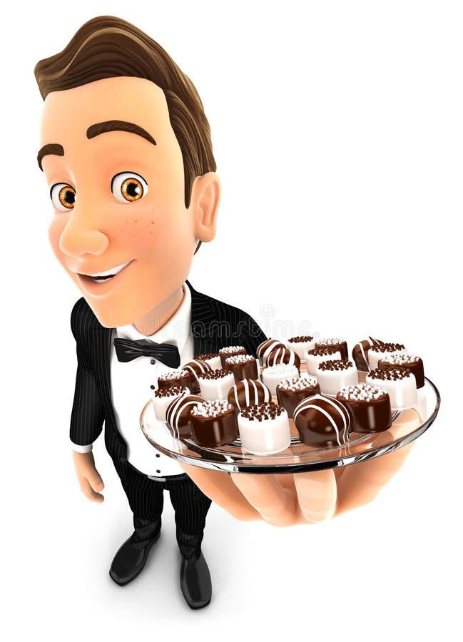 innehavplatta för uppassare 3d med olika choklader royaltyfri illustrationer