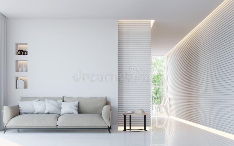 Innen-Bild der Wiedergabe 3d des modernen weißen Wohnzimmers stock abbildung