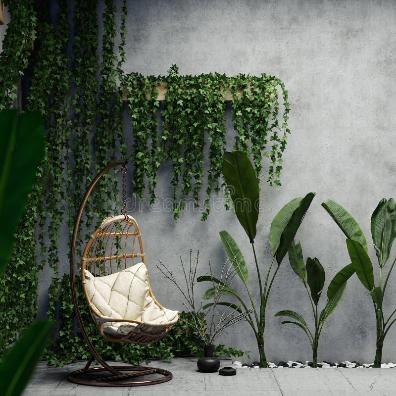 Innen mit Grünpflanzen und Betonmauern, Illustration 3D stockfotografie