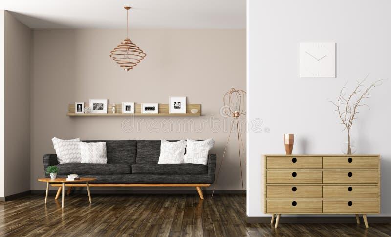 Innen-Wiedergabe 3d des modernen Wohnzimmers lizenzfreie abbildung