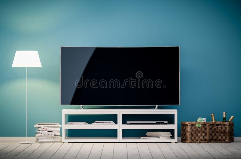 Download Innen-Wiedergabe 3d Des Modernen Wohnzimmers Mit Fernsehen Und Lampe Stock Abbildung - Illustration: 101416420