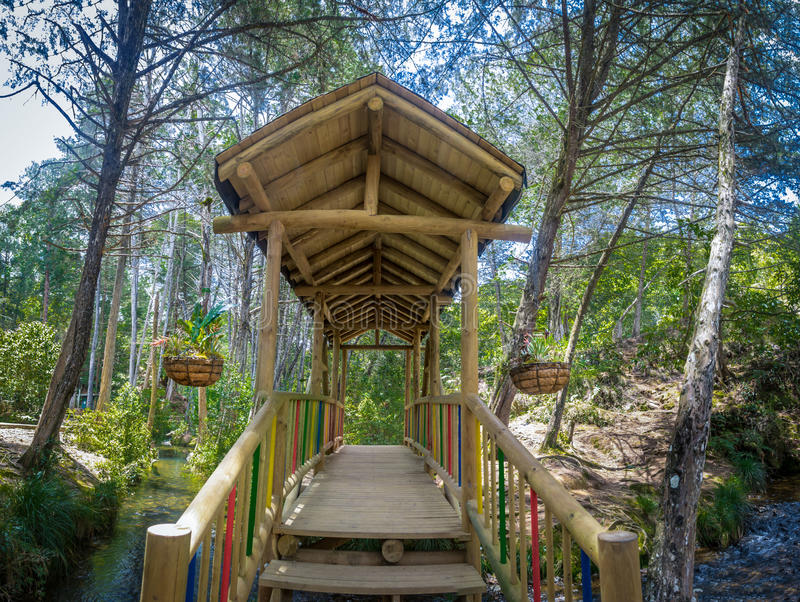 Innenansicht der kleinen bunten bedeckten Holzbrücke - Parque Arvi, Medellin, Kolumbien lizenzfreies stockfoto