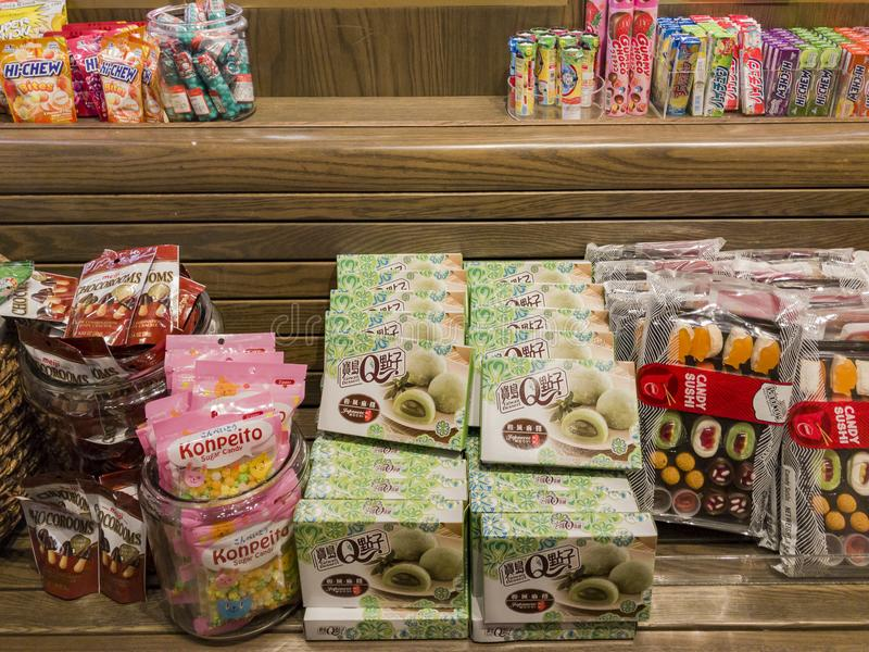 Innenansicht eines speziellen Süßigkeitsshops in Glendale-Galleria stockfotografie