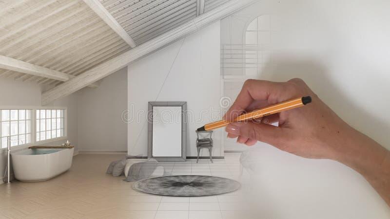 Innenarchitektkonzept des Architekten: Hand, die ein Entwurfsinnenprojekt zeichnet, während der Raum wirklicher, skandinavischer  lizenzfreie stockfotos