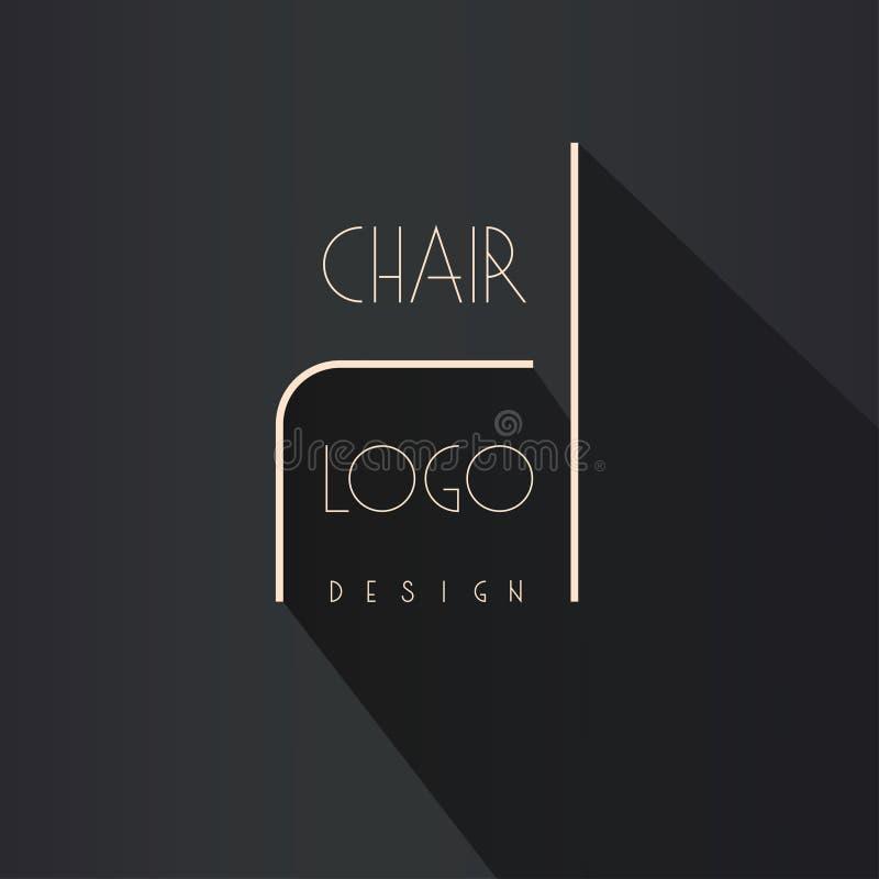 Innenarchitektmarkenidentität Stuhllinie Logo Visitenkarteschablone eingeschlossen stockfotografie