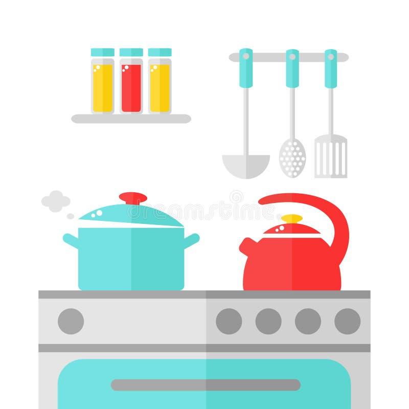 Innenarchitektur der Küche lizenzfreie abbildung
