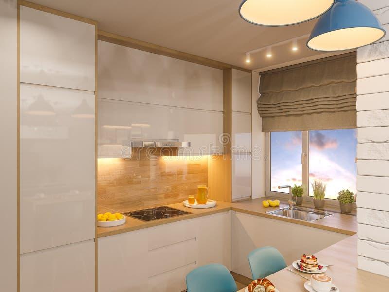 Innenarchitektur der Küche der Illustration 3d in der weißen Farbe Modernes s stock abbildung