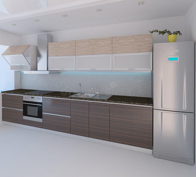 Innenarchitektur der modernen Art der Küche, 3D überträgt stockfoto