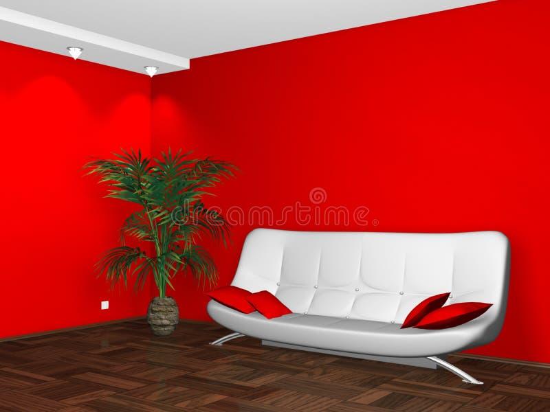 Innenarchitektur der weißen Couch auf roter Wand vektor abbildung