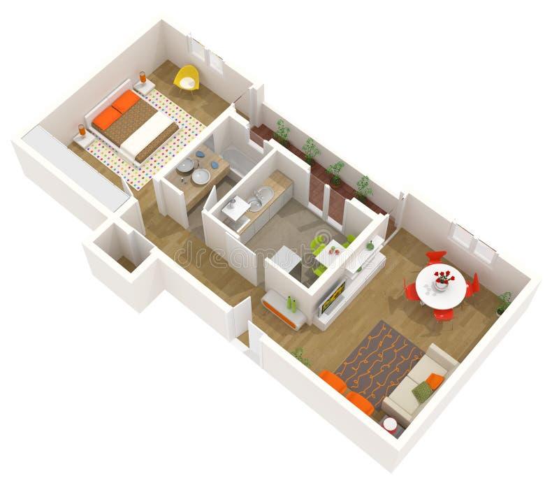 Innenarchitektur der wohnung plan des fu bodens 3d stock for Wohnung 3d planer