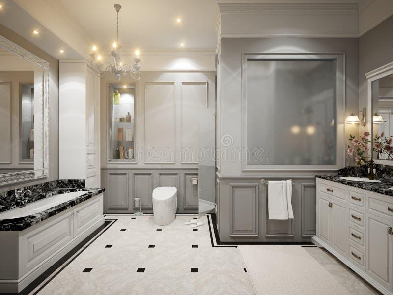 Innenarchitektur des klassischen grauen Badezimmers stock abbildung