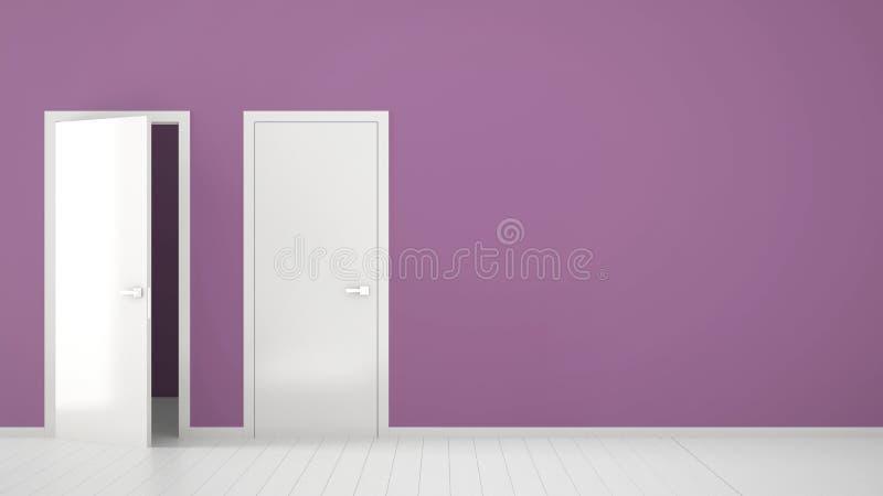 Innenarchitektur des leeren purpurroten Raumes mit den offenen und geschlossenen Türen mit Rahmen, Türgriffe, hölzerner weißer Bo stock abbildung
