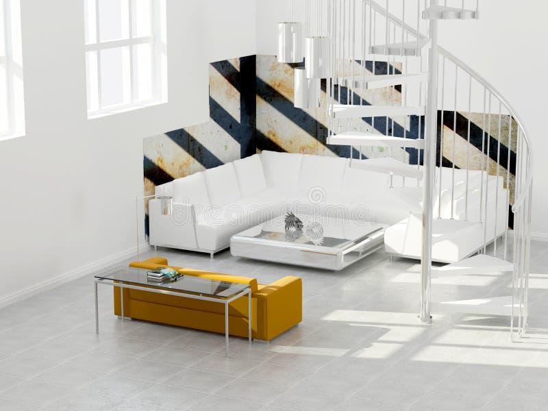 Innenarchitektur des modernen Dachbodens. stock abbildung