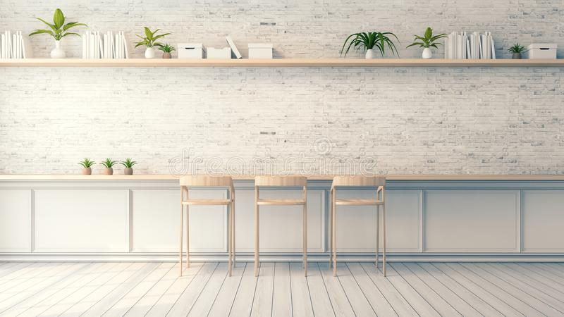 Innenarchitektur des modernen Dachbodens, hölzerner Barhocker und weiße Backsteinmauer, Weinleseart, 3d übertragen lizenzfreie abbildung