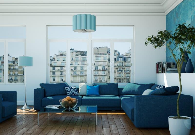 Innenarchitektur des modernen hellen Wohnzimmers mit blauen Sofas vektor abbildung