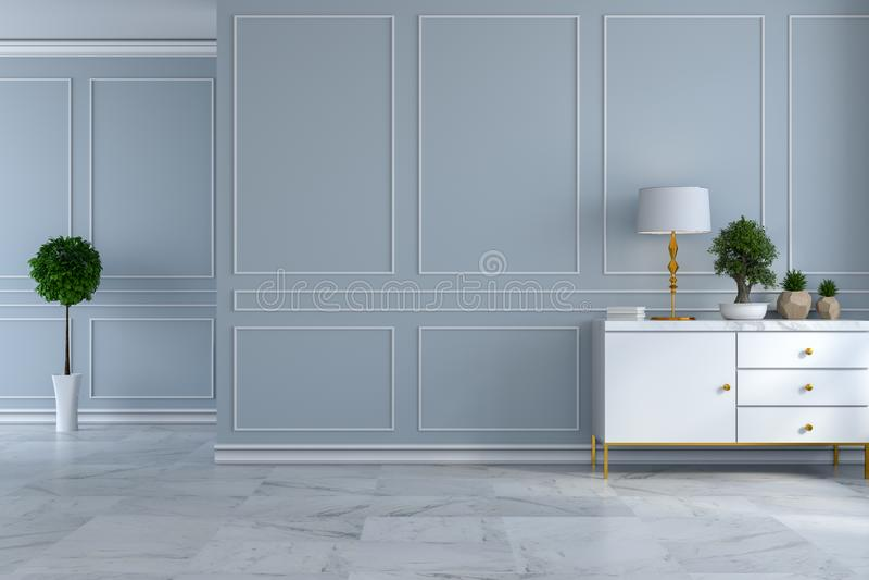 Innenarchitektur des modernen Luxusraumes, leerer Raum, weiße Anrichte mit Lampe und Anlage auf hellgrauem Wand- und Marmorboden  vektor abbildung