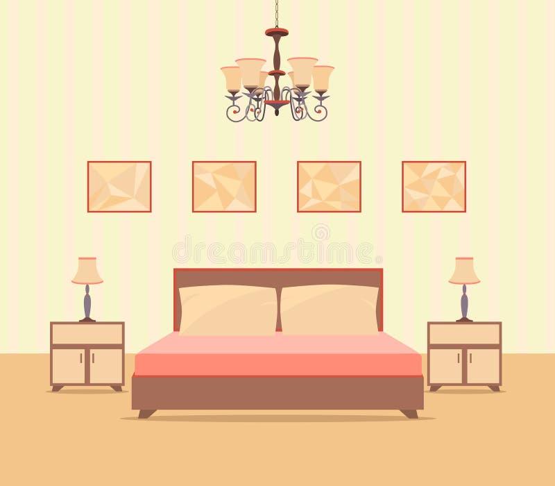 Innenarchitektur des Schlafzimmers in der flachen Art einschließlich Bett, Tabelle, Lampen, nightstands und Bilderrahmen lizenzfreie abbildung