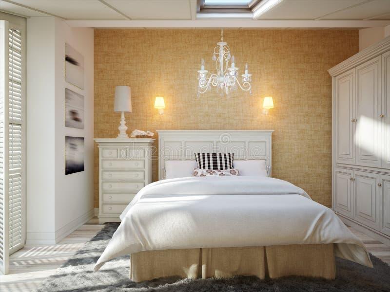 Innenarchitektur des Schlafzimmers im Dachboden des traditionellen Hauses stockbild