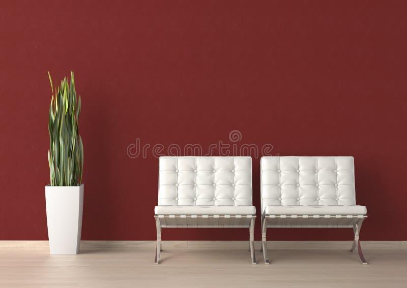 Innenarchitektur des Stuhls mit zwei Weiß stock abbildung