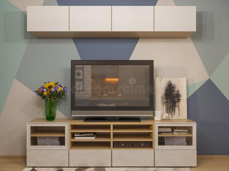 Innenarchitektur des Wohnzimmers der Illustration 3d Modernes Studio auseinander stock abbildung
