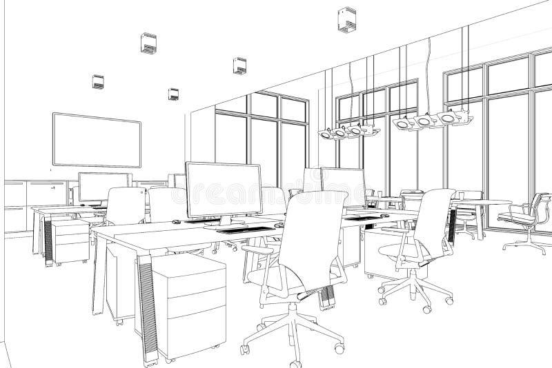 Innenarchitektur-großer Büro-Raum mit Schreibtische kundenspezifischer Zeichnung vektor abbildung