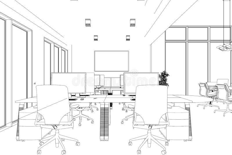 Innenarchitektur-großer Büro-Raum mit Schreibtische kundenspezifischer Zeichnung lizenzfreie abbildung
