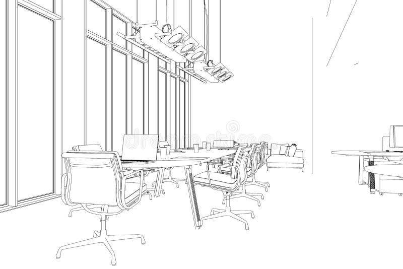 Innenarchitektur-großer Büro-Raum mit Schreibtische kundenspezifischer Zeichnung stock abbildung