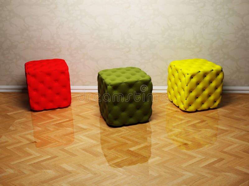 Innenarchitektur mit drei farbigen Hauchen lizenzfreie abbildung