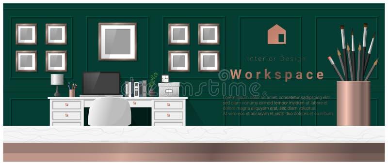 Innenarchitektur mit Tischplatte und modernem Büroarbeitsplatzhintergrund lizenzfreie abbildung