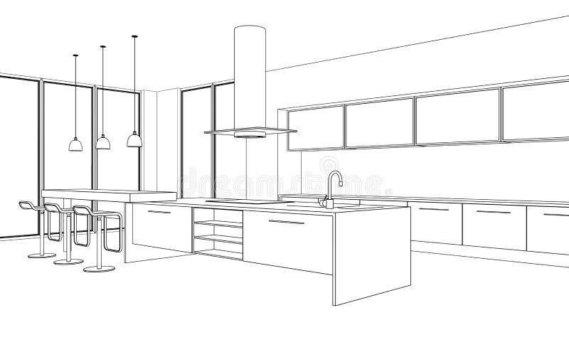 Innenarchitektur-moderner Küchen-Zeichnungs-Plan vektor abbildung