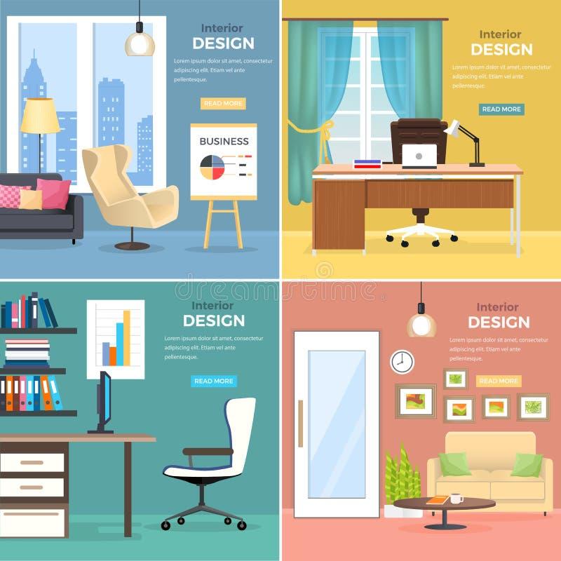 Innenarchitektur von Büro-Räumen mit Möbeln lizenzfreie abbildung