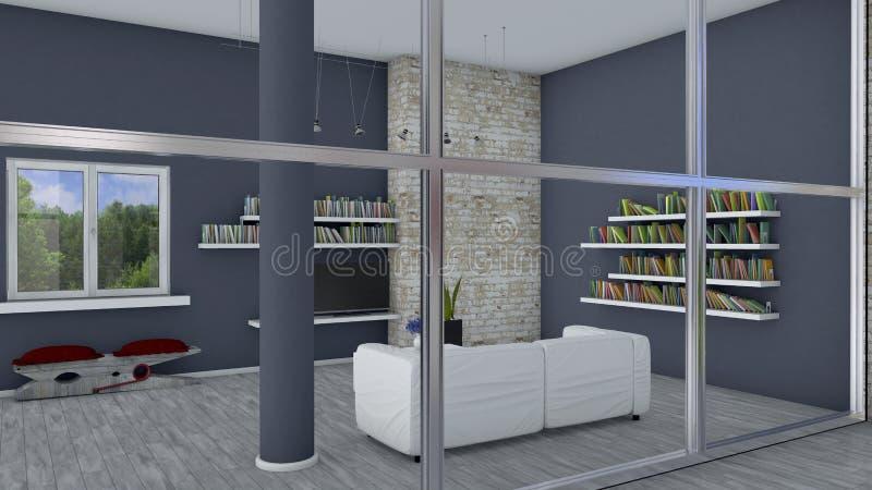 Download Innenarchitektur, Wohnzimmer Und Moderne Möbel, Backsteinmauer,  Fenster, Das Einen Park übersieht