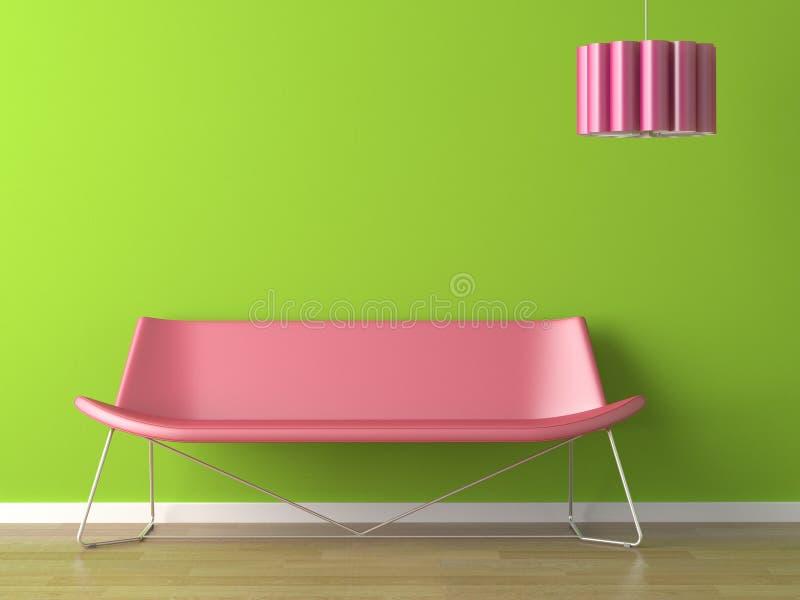Innenarchitekturgrünwand fuxia Couch und Lampe stock abbildung