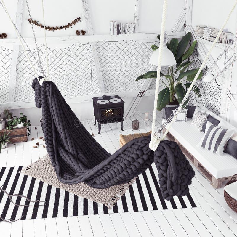 Innenarchitekturidee des Dachbodens mit Hängematte, skandinavische boho Art stockfoto