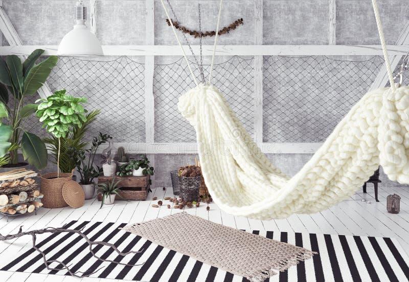 Innenarchitekturidee des Dachbodens mit Hängematte, skandinavische boho Art lizenzfreies stockfoto