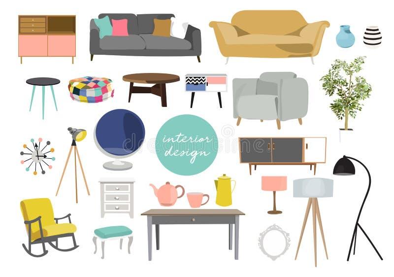 Innenarchitekturillustration des Vektors Sammlungssatz Elemente modische Möbel des Designers Tabellenstuhl-Sofalampenspiegel-Anla stock abbildung