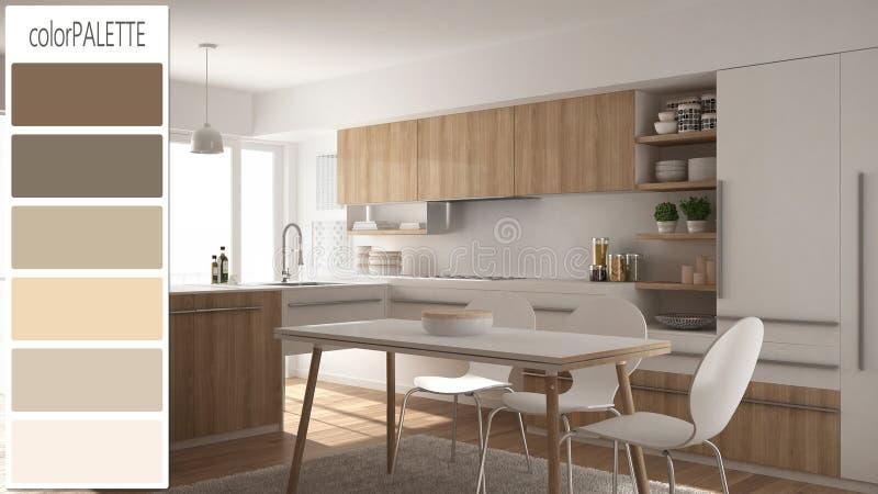 Innenarchitekturkonzept, Architektendesigner, moderner hölzerner Küchenentwurf mit Farbpalette, Hintergrund stock abbildung