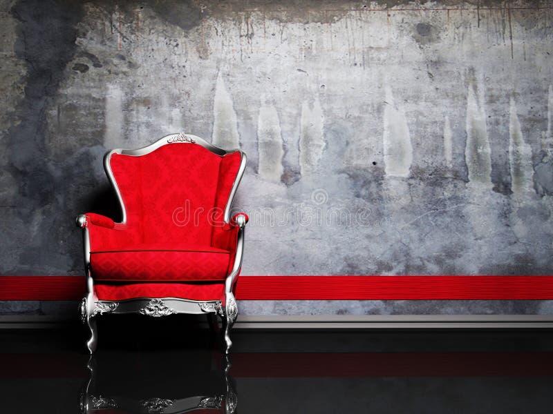 Innenarchitekturszene mit einem roten Retro- Lehnsessel stock abbildung