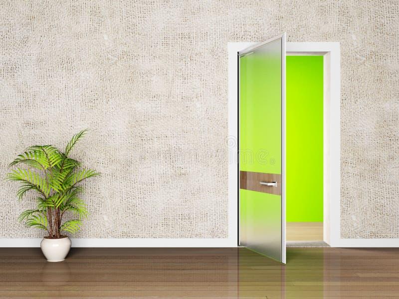 Innenarchitekturszene mit einer offenen Tür vektor abbildung