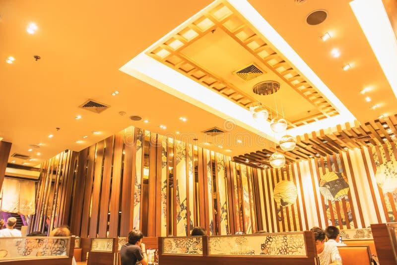 Innenausstattung des japanischen Restaurants an Major Cineplex Sukhumvit-Straße Bangkok Thailand lizenzfreies stockfoto