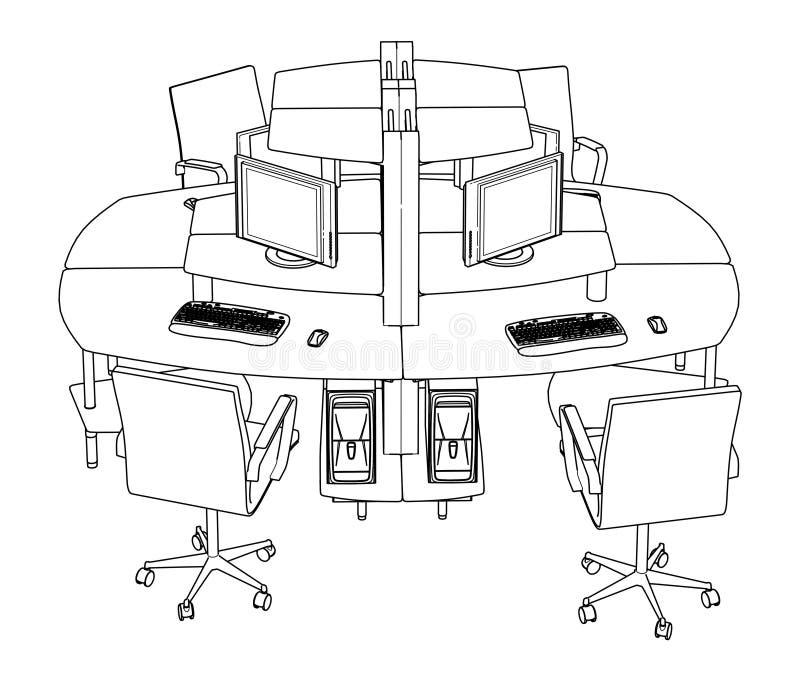 Innenbüro-Arbeitsplatz-Vektor vektor abbildung
